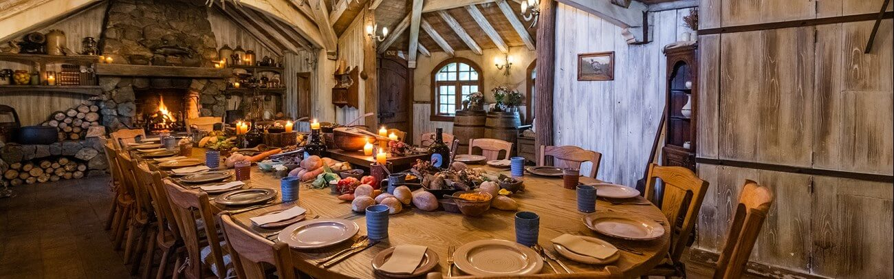 indoor view of themed venue at hobbiton